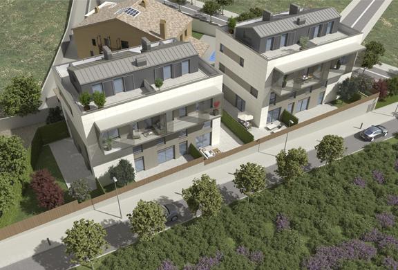Vista aérea viviendas eficientes