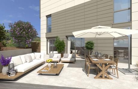 Vista patio Edificio sostenible en l'Om de Tiana